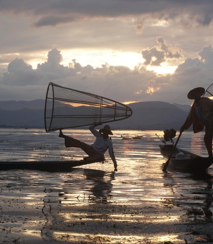 Pescadores, lago Inle, Myanmar
